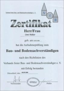 """2000 – Zertifikat zum """"Bau- und Bodensachverständigen"""" – Uwe Walter"""