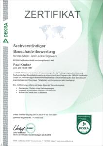 """2018 – Zertifikat """"Sachverständiger Bauschadenbewertung D1"""" – Paul Kroker"""