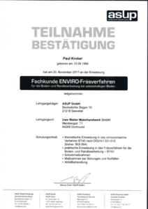 """2017 – Zertifikat """"Enviro Fräsverfahren"""" – Paul Kroker"""