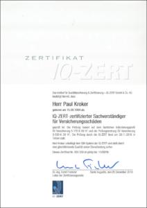 """2016 – IQ-Zertifikat """"Sachverständiger für Versicherungsschäden"""" – Paul Kroker"""