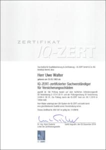 """2016 – IQ-Zertifikat """"Sachverständiger für Versicherungsschäden"""" – Uwe Walter"""