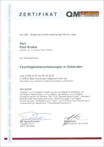 """2016 – QM-Zertifikat """"Fachseminar: Feuchtigkeitserscheinungen in Gebäuden"""" – Paul Kroker"""