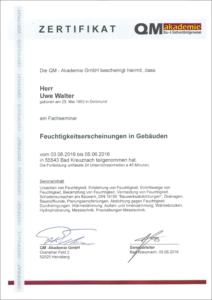 """2016 – QM-Zertifikat """"Fachseminar: Feuchtigkeitserscheinungen in Gebäuden"""" – Uwe Walter"""