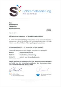 """2013 – Zertifikat """"Schimmelsanierung"""" – Paul Kroker"""