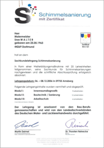 "2006 – Zertifikat ""Schimmelsanierung"" – Uwe Walter"
