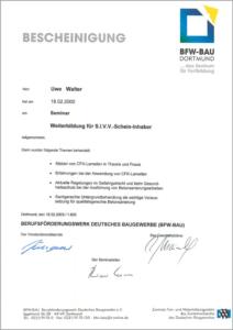 """2000 – Zertifikat """"S.I.V.V."""" – Uwe Walter"""