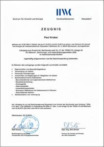 "2015 – Zertifikat ""Sachkunde TRGS 519"" – Paul Kroker"