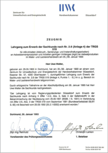 "1993 – Zertifikat ""Sachkunde TRGS 519"" – Uwe Walter"