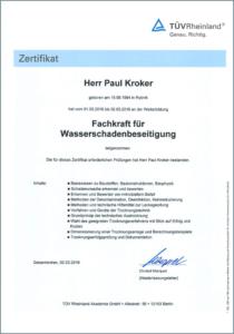 """2016 – TÜV-Zertifikat """"Fachkraft Wasserschadenbeseitigung"""" – Paul Kroker"""