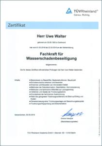 """2016 – TÜV-Zertifikat """"Fachkraft Wasserschadenbeseitigung"""" – Uwe Walter"""