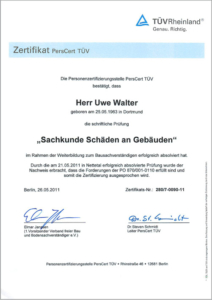 """2011 – TÜV-Zertifikat """"Schäden an Gebäuden"""" – Uwe Walter"""