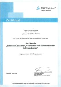 "2008 – TÜV-Zertifikat ""Schimmelsanierung"" – Uwe Walter"